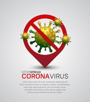 Vírus corona. ponto de localização do vírus da ilustração