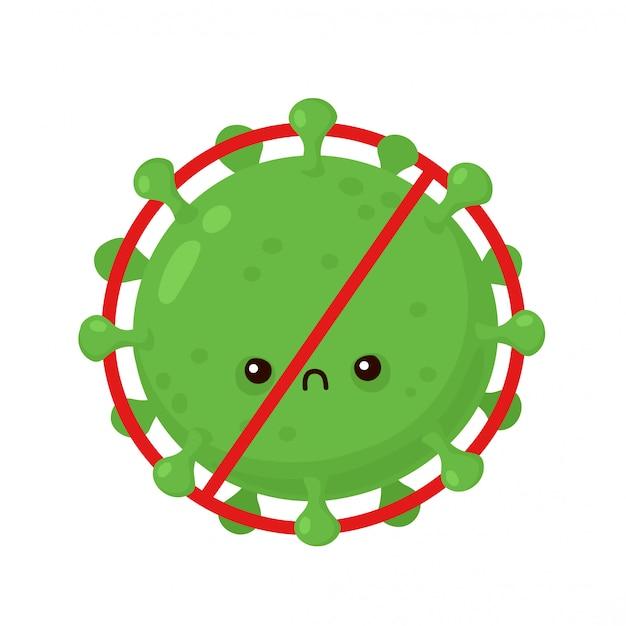 Vírus de corona com raiva bonito em sinal de proibição.