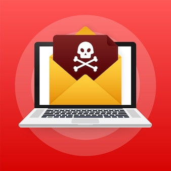Vírus de e-mail vermelho. tela de computador. vírus, pirataria, hacking e segurança, proteção. ilustração em vetor das ações.