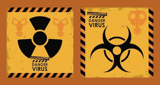 Vírus de perigo com símbolos de risco biológico e nuclear