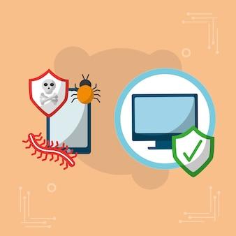 Vírus de segurança cibernética e marca de dispositivo ok