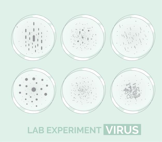 Vírus e microrganismos de experimento de laboratório