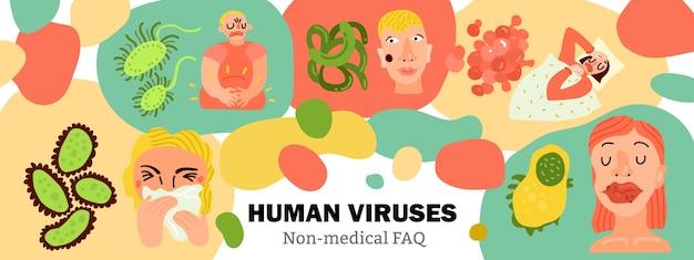Vírus humanos, infecções corporais, pessoas doentes durante a gripe, doenças digestivas, erupções cutâneas, desenhados à mão