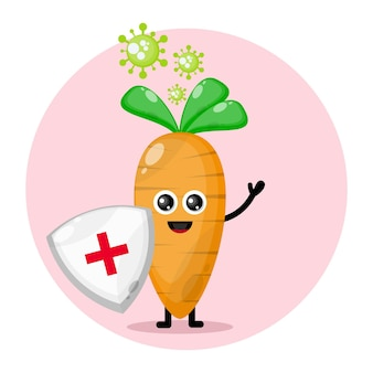 Vírus proteção cenoura personagem fofa