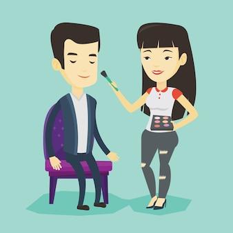 Visagiste fazendo maquiagem para jovem.