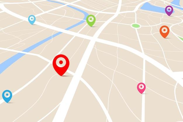 Visão 3d superior de um mapa com ponto de localização de destino