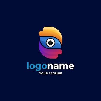 Visão abstrata olho logotipo gradiente estilo para tecnologia biométrica óptica empresa negócios