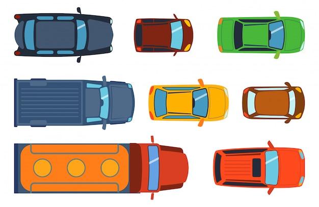 Visão aérea superior do conjunto de brinquedos de carro