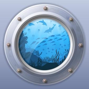 Visão da janela do submarino. vista da janela do vetor, vigia redonda da ilustração do barco subaquático, fuselagem arredondada
