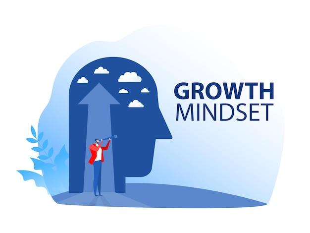 Visão de negócios com a busca de oportunidades na ilustração de mentalidade de crescimento permanente de luneta