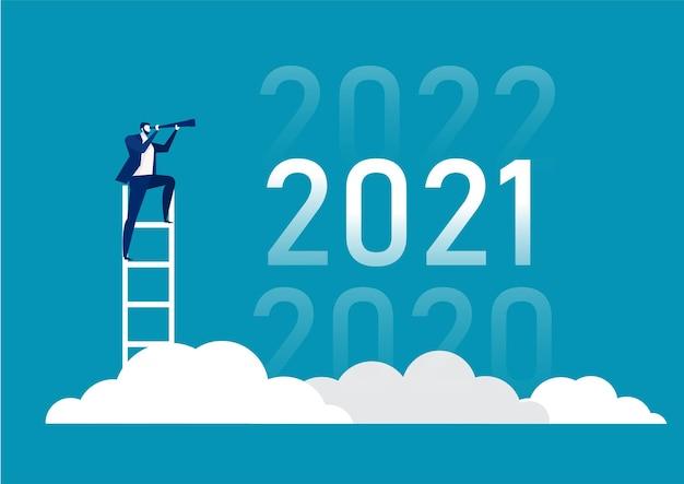 Visão de negócios com binóculos para oportunidades na luneta de 2020, 2021, 2022