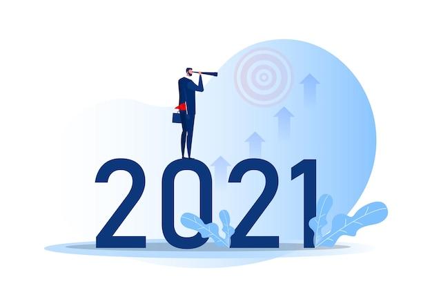Visão de negócios com binóculos para oportunidades na luneta em 2021 ano a meta