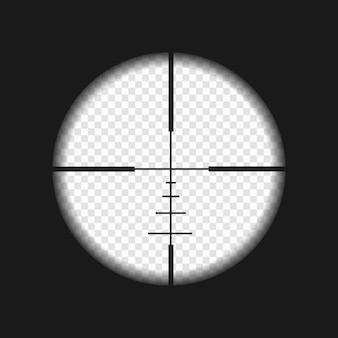 Visão de sniper com marcas de medição. modelo de escopo de rifle em fundo transparente