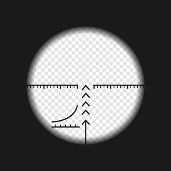 Visão de sniper com marcas de medição.