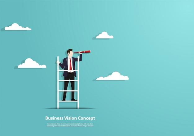 Visão de sucesso com caráter de empresário e telescópio