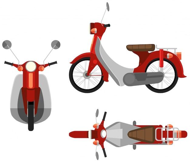 Visão de três lados de uma motocicleta