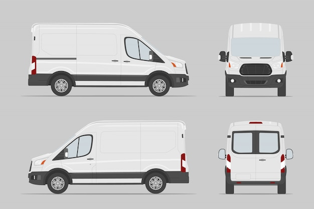 Visão diferente do veículo comercial. modelo de van de carga. ilustração