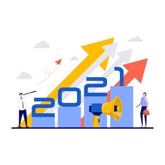 Visão do líder da equipe de negócios, estratégia à frente para o ano novo.