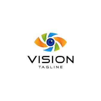 Visão do logotipo do olho gradiente colorido