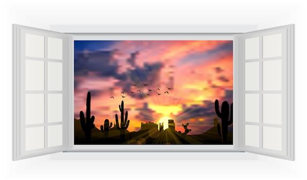 Visão do nascer do sol entre cactos da janela