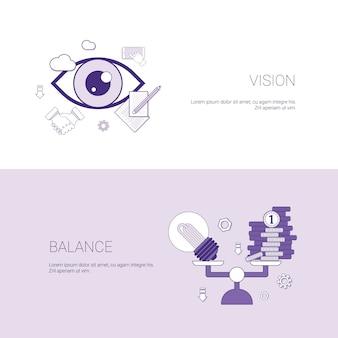 Visão e equilíbrio negócio conceito modelo web banner com espaço de cópia