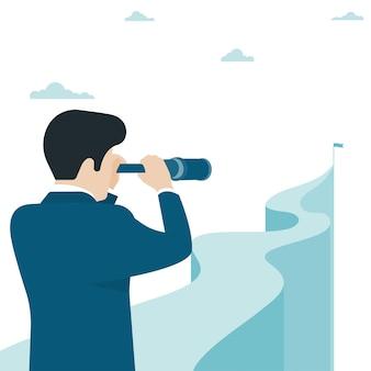 Visão e objetivo do negócio. homem de negócios, segurando o telescópio em pé no topo da montanha, olhando para o sucesso na carreira. conceito de negócio, realização, personagem, líder, ilustração vetorial plana