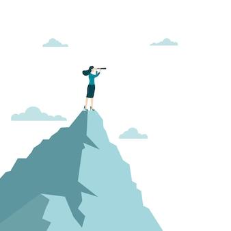 Visão e objetivo do negócio. mulher de negócios, segurando o telescópio em pé no topo da montanha, olhando para o sucesso na carreira. conceito de negócio, realização, personagem, líder, ilustração vetorial plana