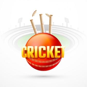 Visão estreita da bola de críquete com tocos de postigo