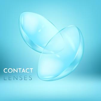 Visão estreita sobre o par de lentes de contato oculares