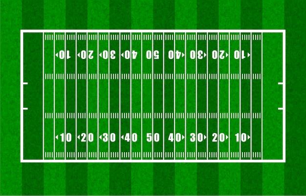 Visão geral do campo de futebol americano mostrando linhas de jarda