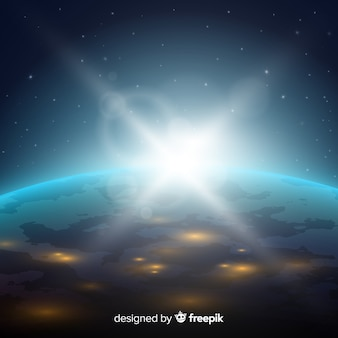 Visão noturna do planeta terra com design realista