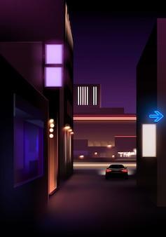 Visão noturna realista da rua com luzes e carro