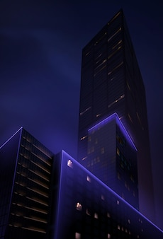 Visão noturna realista do arranha-céu de baixo
