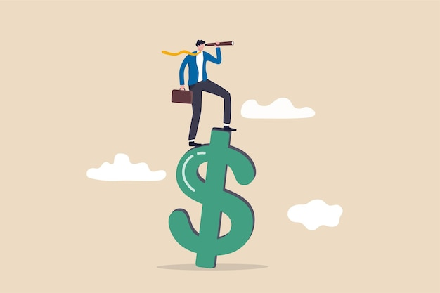 Visão para financeiro ou economia global, oportunidade de negócio ou conceito de previsão de investimento, empresário inteligente e confiante em pé no sinal de dinheiro do dólar dos eua usando o telescópio para ver a previsão futura.