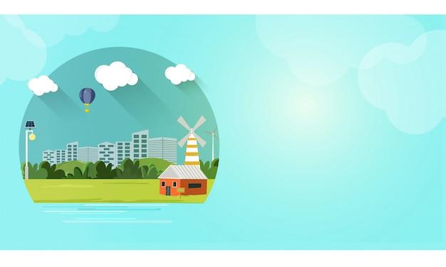 Visão verde da cidade para o conceito de ecologia.