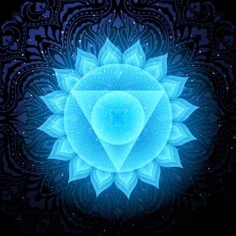 Vishuddha chakra com mandala. chakra da garganta.