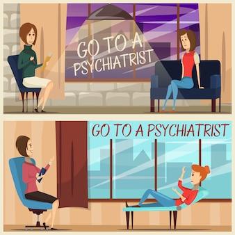Visita aos banners planos de psiquiatra