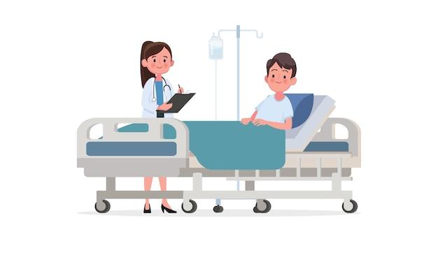 Visita do médico à enfermaria do paciente. uma pessoa doente está em uma cama médica em um gotejamento. ilustração em um estilo simples