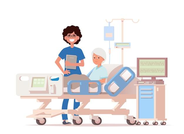 Visita do médico à enfermaria do paciente.