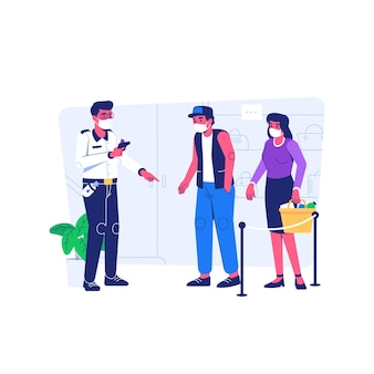 Visitante do shopping de verificação de segurança usando máscara durante a situação de pandemia covid19 estilo de desenho animado