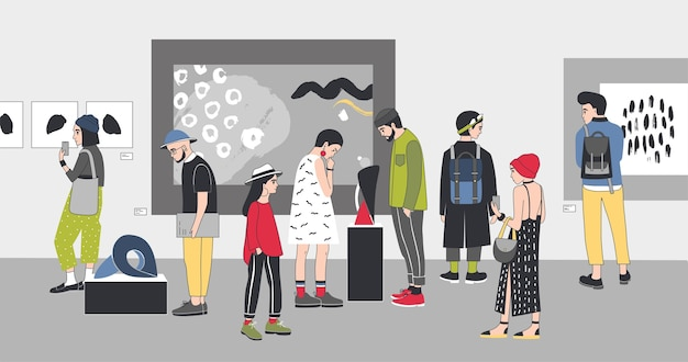 Visitantes atenciosos da galeria de arte contemporânea vendo exposições.