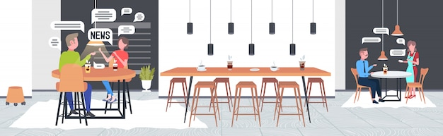 Visitantes conversando durante a reunião no café pessoas discutindo notícias diárias, bate-papo bolha conceito de comunicação restaurante moderno interior ilustração vetorial horizontal
