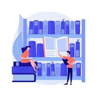 Visitantes da biblioteca pública. pesquisa científica, autoestudo, centro educacional. pessoas procurando livros nas prateleiras da biblioteca, lendo livros didáticos. ilustração vetorial de metáfora de conceito isolado