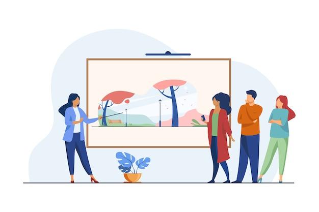Visitantes da galeria olhando obras de arte. guia do museu falando sobre ilustração vetorial plana de imagens. galeria de arte, cultura, exposição