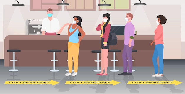 Visitantes do café mantendo distância para evitar pandemia de coronavírus interior do restaurante horizontal