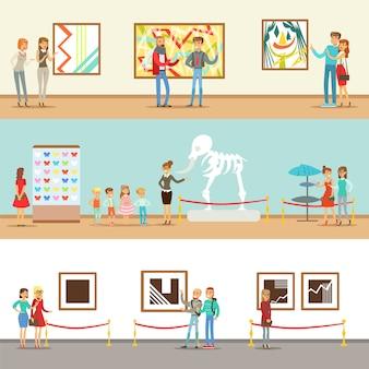 Visitantes do museu fazendo um tour pelo museu