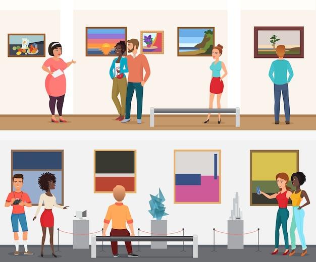 Visitantes do vector museum pessoas no museu da galeria da exposição de arte olhando fotos e outros objetos de exposições de arte