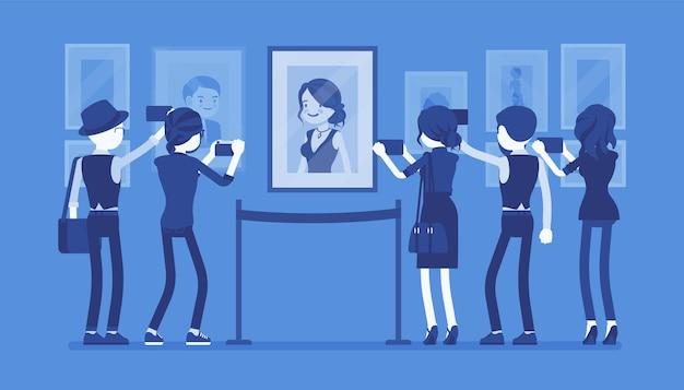 Visitantes em ilustração de museu