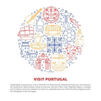 Visite a composição redonda de elementos de portugal