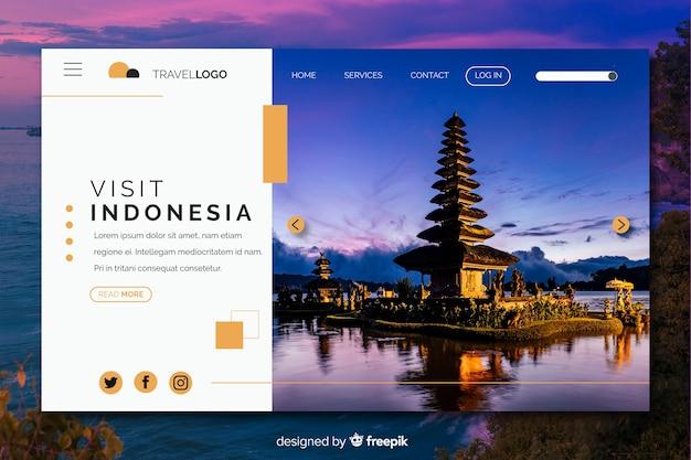 Visite a página de destino de viagem na indonésia com foto
